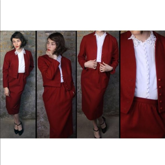 Vintage Dresses & Skirts - Forties Red Hot Wool 2 PC Set VTG